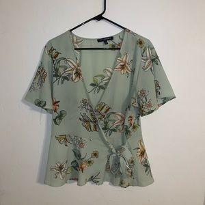 Floral wrap around shirt